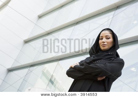 Middle Eastern Business Woman Stood Outside Offices