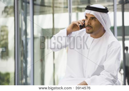 Middle Eastern Business Man On Cell Phone