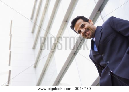 Middle Eastern Business Man Stood Outside Offices