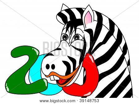 Zebra head with the inscription Zoo