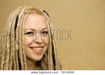 Smiling Woman With Face Piercings
