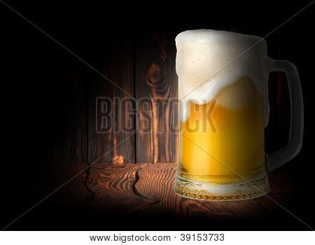 Beer on a dark background