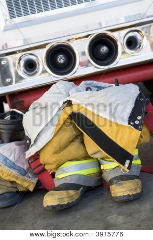 Close Up Of Fire Fighters Equipment