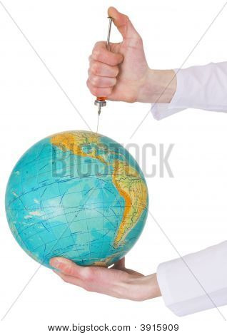 Terrestrial Globe And Syringe