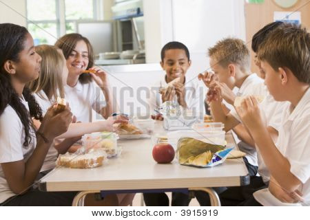 Pupil Eating School Dinner