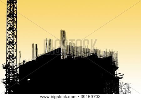 Construction Equipment And Elements Of A Building Under Construction