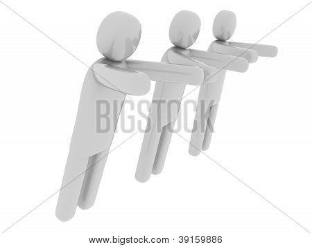 Hombres grises empujando algo