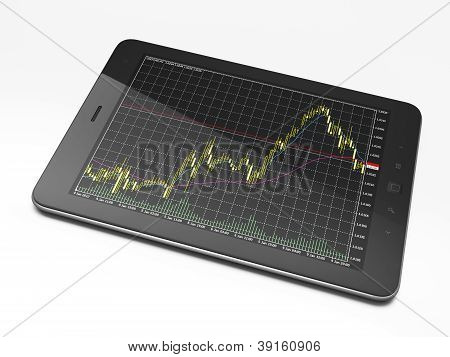 Beautiful black tablet pc on white background