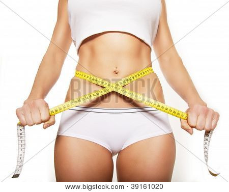 Tape Measure Around A Woman's Stomach