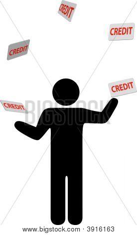 Symbol Man Juggles Credit Cards And Debt