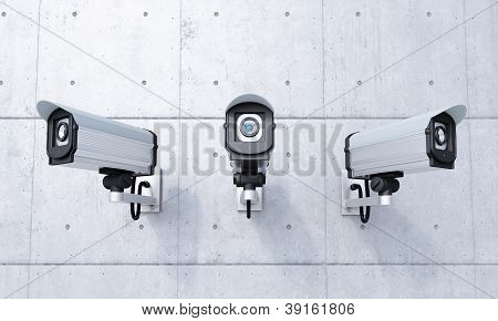 Three Security Cameras Frontal View