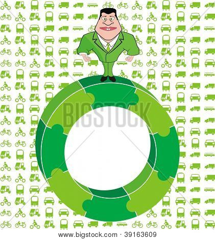 Man Standing on Green Puzzle Circle and Vehicles Background - Green Environment Concept