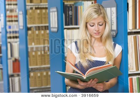 Woman In Library Reading Book (Depth Of Field)