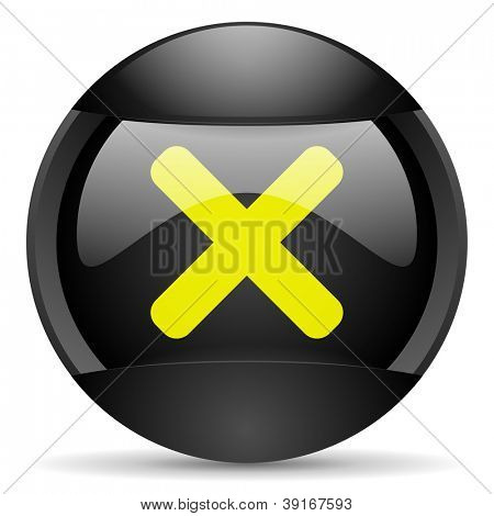 cancel round black web icon on white background