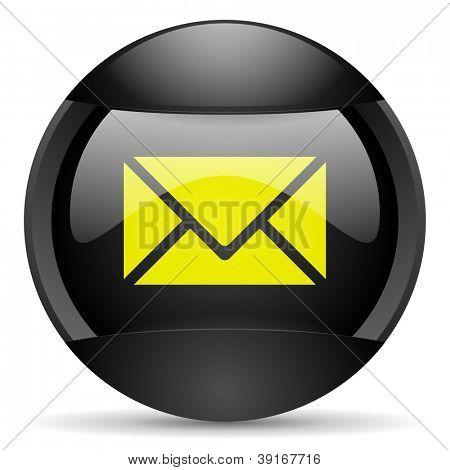 mail round black web icon on white background