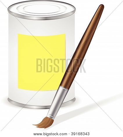 Yellow Paint Tin And Paint Brush