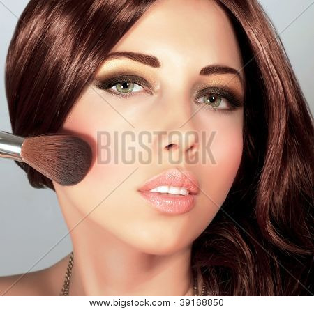 Picture of pretty woman with stylish makeup, cute girl holding brush for blush, sexy female with gloss brown hair, fashionable beauty salon, luxury lifestyle, perfect complexion, New Year party