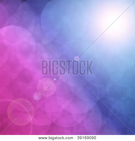 Photo of abstract holiday background with a magic bokeh lights, Christmas greeting card, mix of pink and blue festive backdrop, shallow dof, blurred celebration sparkle, xmas eve, New Year party