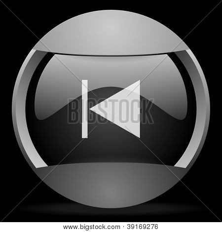 prev round gray web icon on black background