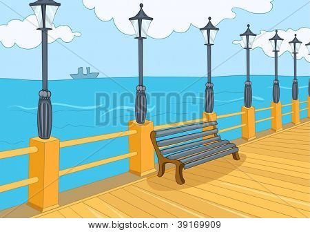 Seafront Harbor. Cartoon Background. Vector Illustration EPS 10.