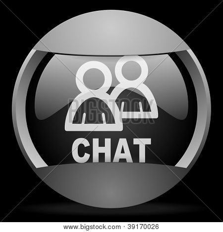 chat round gray web icon on black background