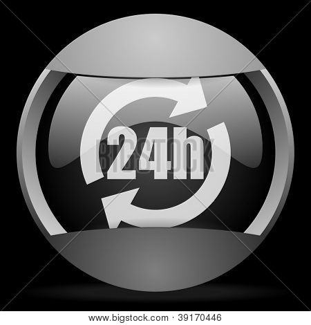 24h round gray web icon on black background