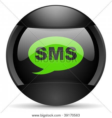 sms round black web icon on white background