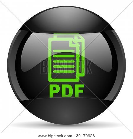 pdf round black web icon on white background