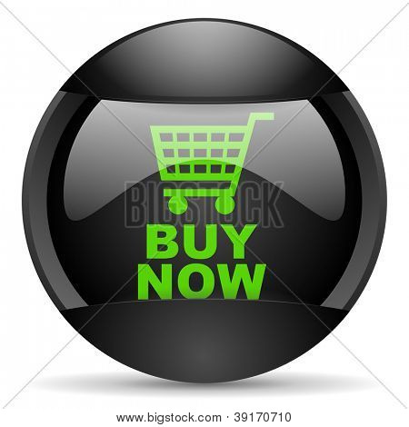 buy now round black web icon on white background