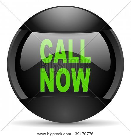 call now round black web icon on white background
