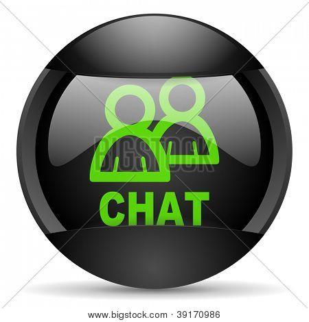 chat round black web icon on white background