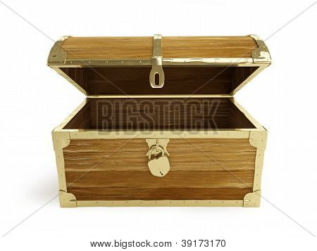 Old Wooden Chest Open