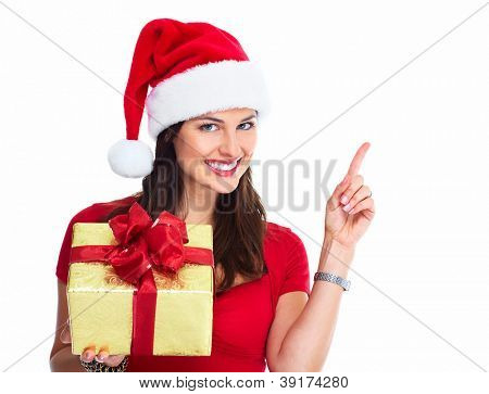 Happy Santa Christmas Woman mit Taschen, isolated on white Background.