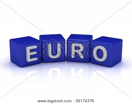 Euro Word On Blue Cubes