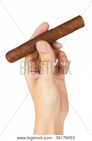 Cigar in hand, isolated on white background
