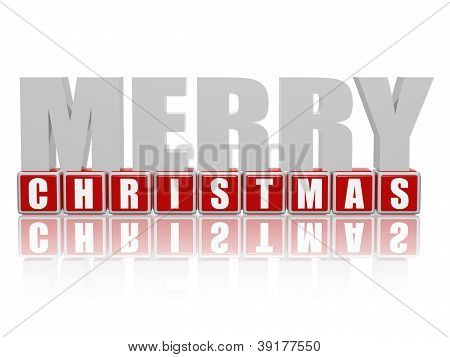 Merry Christmas In 3D Letters And Cubes