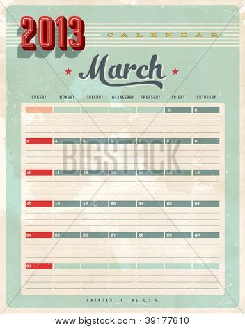 Vintage 2013 Calendar - March - Vector EPS10. Grunge effects can be easily removed for a brand new, clean sign.