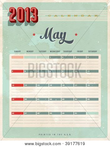 Vintage 2013 Calendar - May - Vector EPS10. Grunge effects can be easily removed for a brand new, clean sign.