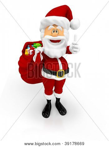 3D Happy Santa with thumbs up with Christmas gifts - isolated