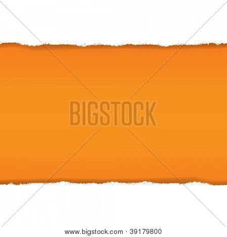 Rip White Paper And Orange Background With Gradient Mesh, Vector Illustration
