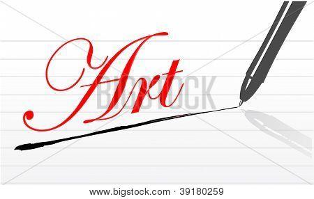 Art Written On A Notepad Paper