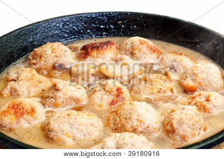 Hot Meatballs Fried In Sauce