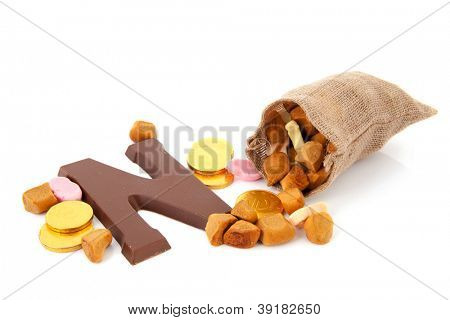 Dutch Sinterklaas candy with jute bag and pepernoten