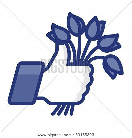Like/Thumbs Up icon with bunch of flowers