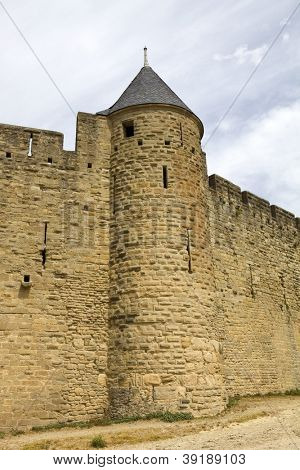 The ancient fortification of Carcassone in southern France