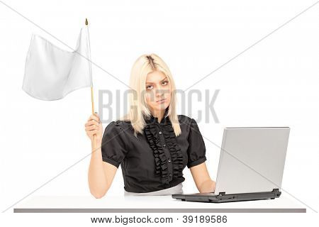 Sad female office worker waving a white flag gesturing defeat isolated on white background