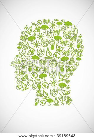 Eco icons and symbols  form the human head