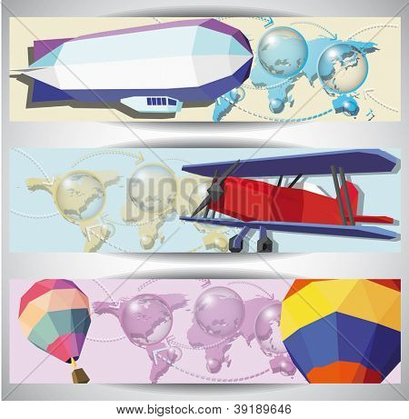Vintage aero web banners. Eps10 .Image contain transparency and various blending modes