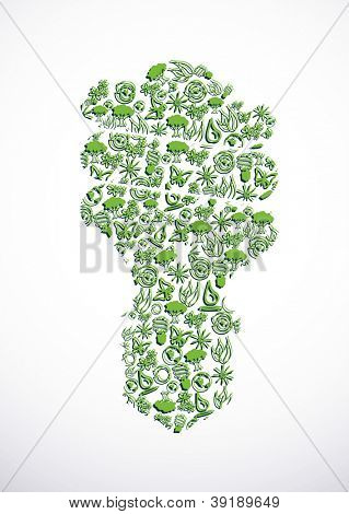 Eco icons and symbols  form the energy saving light bulb.