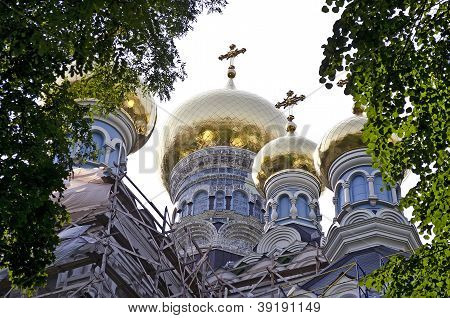 Dome Of The St. Nicholas Cathedral In Pokrovsky Monastery In Kiev